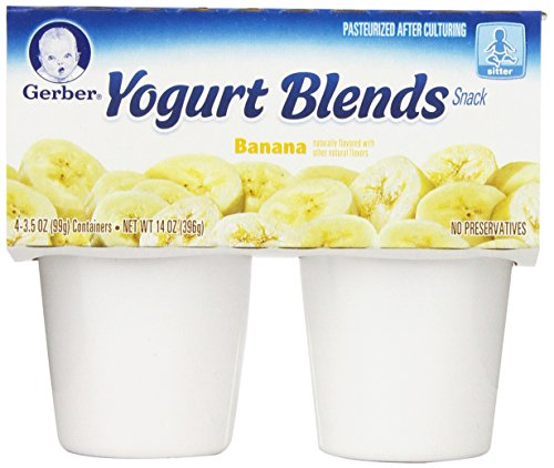 Gerber Yogurt Blends, Simply Banana, 4-Count, 3.5-Ounce Cups (Pack of 6)