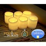 "Timer Flameless Candles By Festival Delights® - Premium IC-controlled Soft Flickering Votive Battery Operated Candles, 70+ Hours of Lighting, 5-Hours-Cycle Timer, Dia. 1.5""x1.75"" Height, Total 12 Battery cells Included, LED Candles, Flameless Candle Set, Votive Candles, Wedding Decor"