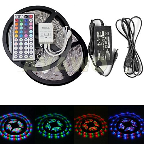 Avawo 32.8Ft 3528 Smd 600 Rgb Led Lamp Strip Light Non-Waterproof+44Key Controller + Dc12V5A Power Supply