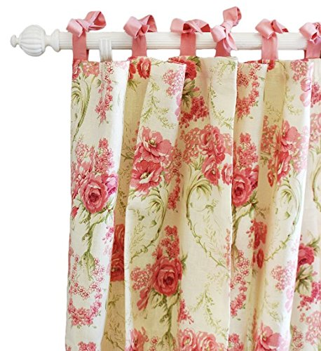 New Arrivals Roses for Bella Set Of 2 Curtain Panels, Pink/green/cream