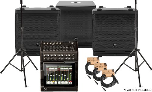 Mackie Dl1608 Ipad Based Mixer (Ipad Not Included) W/(2) Dlm12 Powered Mains (1) Dlm12S Powered Sub (3) 50' Xlr Cables And Speaker Stands