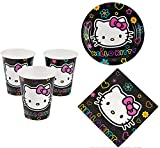 Hello Kitty Party Supplies for 16 People 48 piece Set: 16 Cups, 16 Dessert Plates & 16 Lunch Napkins
