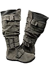 Womens Knee High Faux Suede Flat Winter Buckle Boots Gray Military Shoes