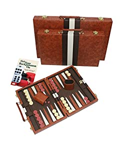 Top Backgammon Classic Board Game Set Case - Best Strategy & Tip Guide By Get the Games Out™ - Available in 15 Inch, 19 Inch and 22 Inch Sizes. (Brown, Small)