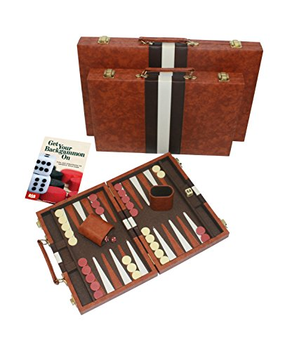 #1 Top Backgammon Set - Classic Board Game Case - Best Strategy & Tip Guide - Available in 15 Inch, 19 Inch and 22 Inch Sizes By Get the Games Out� (Brown, Small)