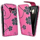 Accessory Master - Funda de piel con diseño de flores para Samsung Galaxy Ace 2, diseño de flor, color rosa y negro