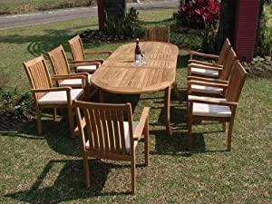 """Grade-A Teak Wood Luxurious Dining Set Collections: 9 pc - 94"""" Double Extension Oval Table And 8 Cahyo Stacking Arm Chairs"""