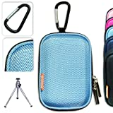 New first2savvv semi-hard light blue camera case for Nikon COOLPIX S2800 with mini tripod