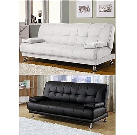Divano letto sofa 187x88 bianco ecopelle braccioli antiribaltamento soggiorno salotto mod58