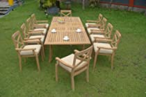"Hot Sale Granada 11 Pc Luxurious Grade-A Teak Wood Dining Set : Large 117"" Rectangle Table And 10 Stacking Arm Chairs"