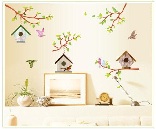 Birdhouses and Branches Wall Art Vinyl Decal Stickers - Beautiful for Living room / Bedroom / Nursery / Kids Room