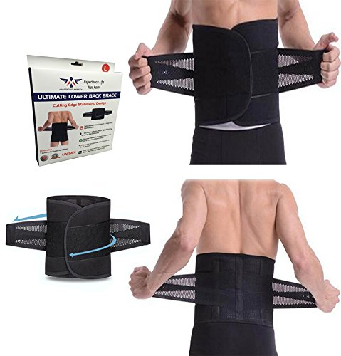 Armstrong Amerika Lower Back Brace Support Belt for Low Back Pain Relief Lumbar Belt to Help Treat Scoliosis & Sciatica Fix Spine Alignment Work Posture Sports or Gym Lifting Adjustable (Medium)