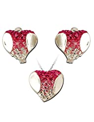 Exxotic Fashion Sterling Silver Pink & White American Diamond Earring Pendant Set For Women