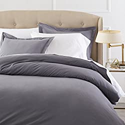 Pinzon Heavyweight Cotton Flannel Duvet Set - Full/Queen, Graphite