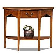 Demilune Console Table, Medium Oak