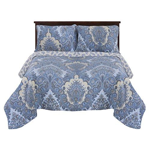 Superior 100% Cotton, Soft, 3-Piece King/California King Chatham Quilt Set, Blue (Blue Quilt California King compare prices)