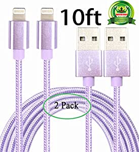 Abloom 2Pack 10ft Nylon Braided Popular Lightning Cable 8Pin to USB Charging Cable Cord with Aluminum Heads for iPhone 6/6s/6 Plus/6s Plus/5/5c/5s/SE,iPad iPod Nano iPod Touch(Purple)
