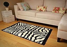 Zebra Skin Pattern Area Rug (Animal Style) ( Black- Ivory) ( 32\'\' X 47\'\' ) ( 2.8 X 3.9 feet)