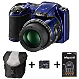 Nikon Coolpix L820 - Blue + Case + 16GB Memory Card + Battery and Charger (16 MP, 30x Optical Zoom) 3 inch LCD