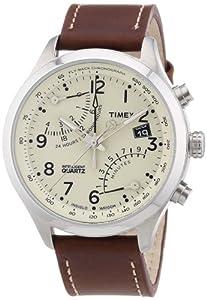 Timex Intelligent Quartz T2N932 Mens Cream Brown Fly-Back Chronograph Watch
