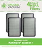 4 Kenmore 86889 EF-1 Exhaust HEPA Vacuum Filters; Compare to Sears Kenmore Part# 86889 (or 20-86889), 40324, EF1 & Panasonic Part # MC-V199H (MCV199H); Designed and Engineered by Crucial Vacuum