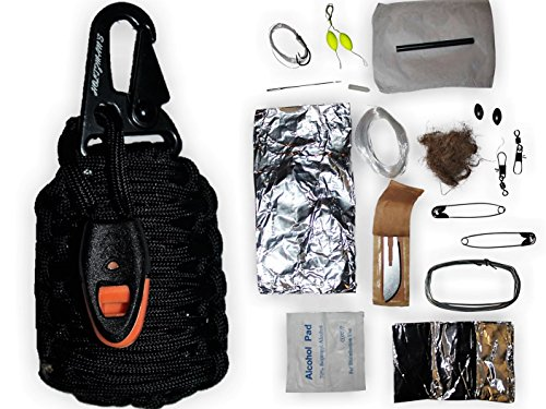 Paracord Grenade Emergency Kit HIGH QUALITY 550 Parachute Cord Has an Attached Whistle for Signaling The Carabiner Upgraded With a Military Grade Snap Hook Filled With 18 Tools Including Fishing Gear