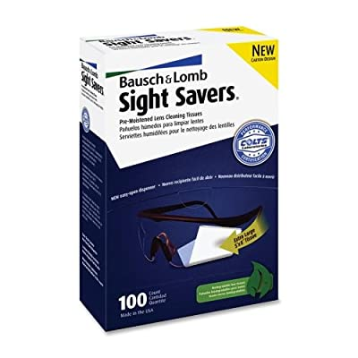 "Bausch & Lomb Sight Savers Pre Moistened Lens Cleaning Tissue - 100 Per Box - 100 / Box - 5"" x 8"""