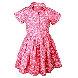 ShopperTree Pink Printed Dress(ST-1411_Multi-Coloured_5-6Y)