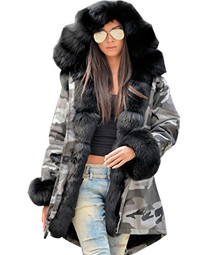 Roiii Winter New Ladies Casual Coats Women Jacket Warm Hoodies Long Trench Parka (Small, Army Green)
