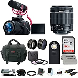 Canon Rebel T5i Video Creator Kit with 18-55mm Lens, Rode VIDEOMIC GO and Sandisk 32GB SD Card+ Canon Rebel DSLR Gadget Bag + Accessory Bundle