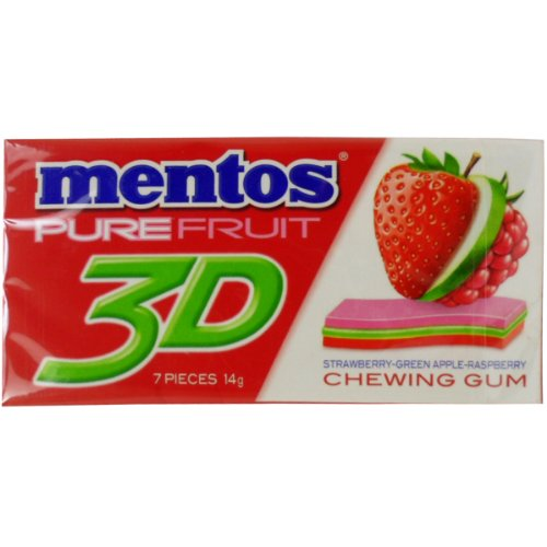 Mentos Chewing Gum Pure Fruit 3D Strawberry Green Apple Raspberry Flavor Net Wt 14 G (7 Pieces) X 5 Boxes