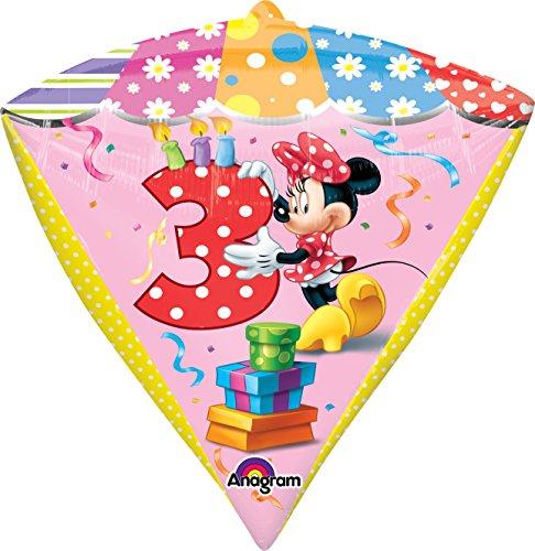 "Anagram International Minnie Age 3 Diamondz Balloon Pack, 17"", Multicolor"