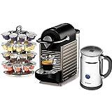 Nespresso Pixie C60 Electric Titan Espresso Machine with Aeroccino Plus and Bonus Coffee Carousel