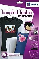 AVERY - C9406-5 - 4 transferts pour textiles noirs ou foncés. A4. Impression jet d'encre
