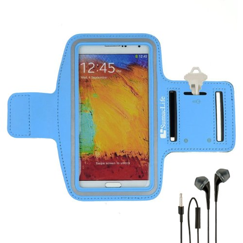 Sumaclife Armband - Sky Blue Sport Workout Neoprene W/ Key & Earphone Holder Fits Htc One M8 Android Phone + Black Handsfree Microphone Headphones