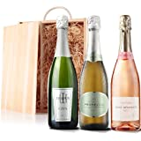 Sendagift by Virgin Wines Cava, Prosecco, Pink Prosecco Wine Gift In Wooden Gift Box