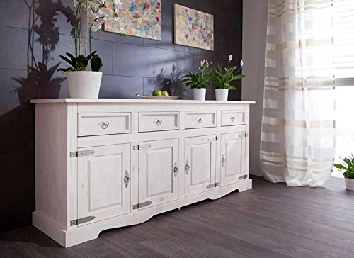 Großes Sideboard massiv Mexico weiss Pharao24