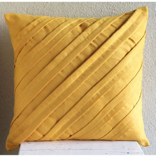 Contemporary Mustard Yellow - 16X16 Inches Decorative Pillow Covers In Mustard Yellow Color front-110186