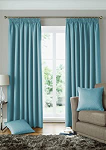 """Woven Jacquard Squares Duck Egg Blue 46x72"""" 117x183cm Lined Pencil Pleat Curtains Drapes from Curtains"""