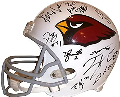 2015 Arizona Cardinals Team Autographed / Signed Riddell Full Size Football Helmet w/ 28 Sigs Total & Proof Photos of Signing