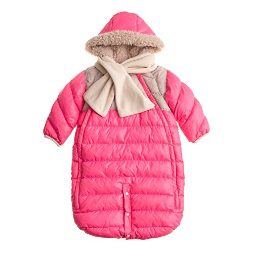 7AM Enfant Doudoune One piece Infant Snowsuit Bunting, Neon Pink/Beige, Medium