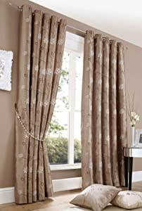 CHELSEA LATTE FLORAL 66x54 FULLY LINED RING TOP CURTAINS #LLIHGNITTON *AS* from PCJ Supplies