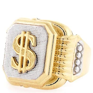 14ct Two Colour Gold Dollar Sign Rectangular Mens Ring