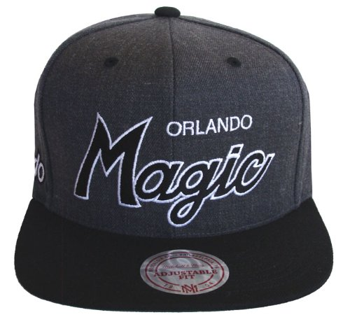 Orlando Magic Mitchell & Ness Script Snapback Cap Hat Charcoal Black