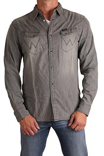 Wrang LER Jeans-Camicia da uomo a maniche lunghe w58333X 2d Washed Grey Washed Grey M/43/44