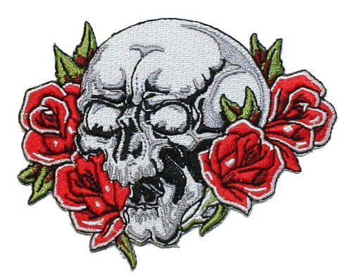 Skull and Roses Embroidered iron on Motorcycle