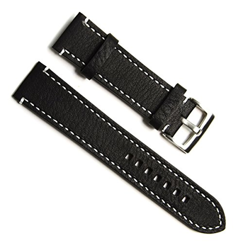 greenolive-23mm-handmade-vintage-cowhide-leather-watch-strap-watch-band-white-stitch-black