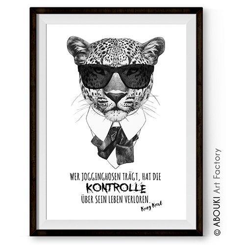 abouki-lustiger-kunstdruck-ungerahmt-karl-und-die-jogginghose-mit-leopard-motiv-fine-art-print-gesch