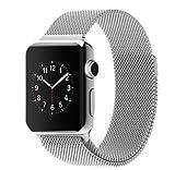 morningsun XG アップルウォッチ バンド Apple watchベルト マグネット 式 ミラネーゼループ ステンレス 留め金製 メッシュ ベルト (38mm, 銀)