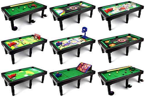 Ultimate 9-in-1 Novelty Table Top Arcade Games Toy Play Set w/ Table, Accessories